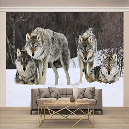 Fotomural Vinilo Pared Lobo Gris Animal 200x150cm/79x59in(Wxh) Murales De Pared 3D Sala De Estar Fondo Papel Pintado De No Tejido Fotomurales Decorativos Pared