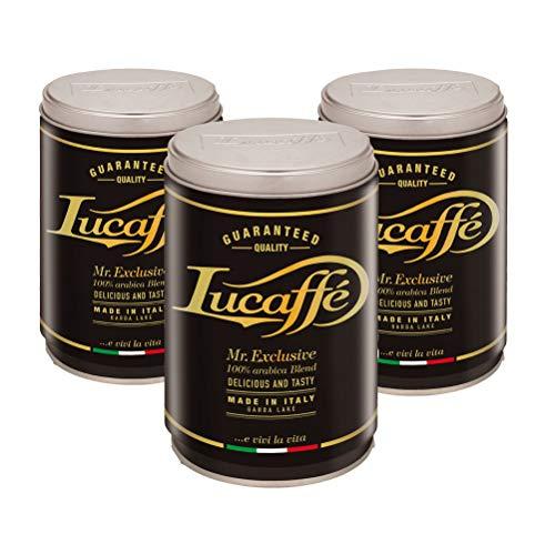 LUCAFFÈ Mr. Exclusive Arabica gemahlener Kaffee Kaffeekanne 3 x 250gr Stahl spart Aroma gemahlener Kaffee Arabica Herkunft Südamerika Asien Afrika süßer Geschmack Aroma Toast mittlerer Körper