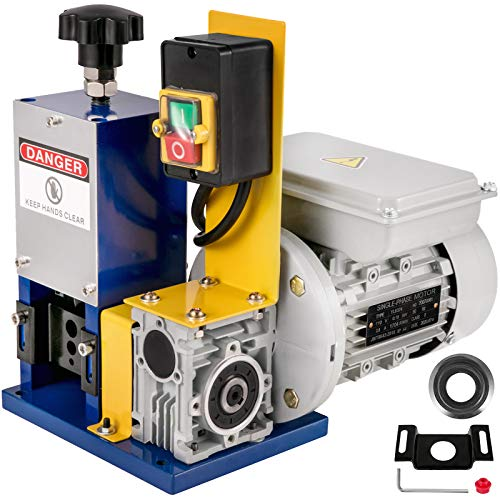 Happybuy Cable Wire Stripping Machine 0.05'-0.98', Automatic Electric Wire Stripping Machine 1 Channel,Portable Blue Wire Stripper Machine Tool Including A Extra Blade,for Scrap Copper Recycling