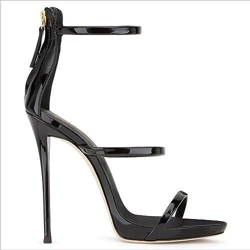 Exing 2018 Femmes Chaussures PU Printemps été Chaussures Sandales Talon Stiletto Tour Toe Zipper pour La Fête de Mariage et Robe de Soirée