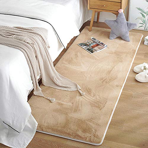 Charm4you Limpieza Antideslizante Acolchada Alfombra,Alfombra de Felpa para Dormitorio de casa-Camel_80 * 200,Alfombra de Tejido Plano para salón