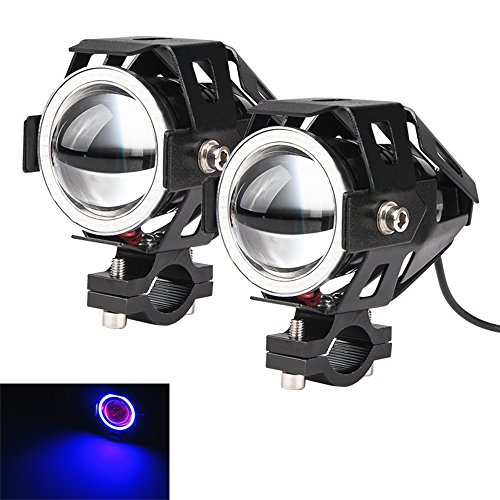 LARS360 Motorrad LED Zusatzscheinwerfer Beleuchtung Scheinwerfer U7 Nebel Lampen Angel eyes mit Schwarz Aluminium Legierung Shell Wasserdicht Blau-licht Spotlight