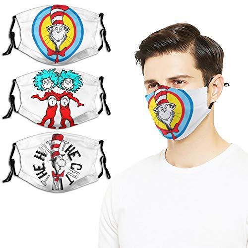 3PC Dr Seuss Face Mask Reusable Washable Warm Windproof Cotton Face ProductFace Mouth Mask for Kids Teens Men Women (White-Dr Seuss (21) Dr Seuss (17) Dr Seuss (4) 1, 3 PC)