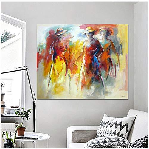Schilderij Wereld Beroemd Het dragen van een hoed Abstract Schilderij Gedrukt op Canvas Kleurrijke Vrouw Muur Foto's voor Woonkamer -50x70cmx1st -Geen Frame