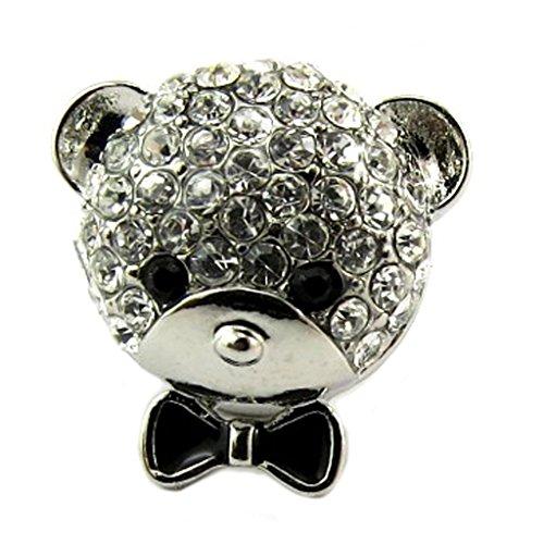 Les Trésors De Lily P8128 - Pin pin '' 'Teddy' schwarz weiß silber - 15x15 mm.