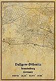 Leinwanddruck, Motiv: Deutschland, Dallgow-Döberitz, Brandenburg, Landkarte, Vintage-Stil, ungerahmt, Dekoration, Geschenk, 50,8 x 76,2 cm