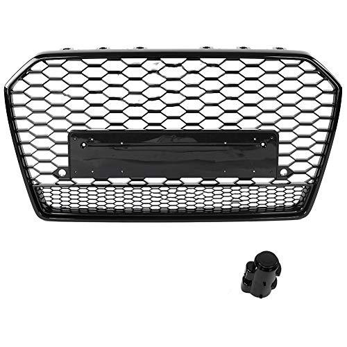 KIMISS ABS Front Sport Hex Mesh, RS6 Quattro Style Black Honeycomb Haubengrill für A6 / S6 C7 2015-2018, direkter Sitz…