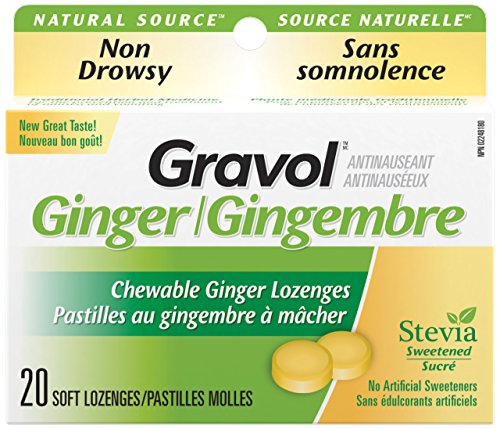 Certified Organic Ginger GRAVOL (20 Chewable Lozenges) 500mg Antinauseant