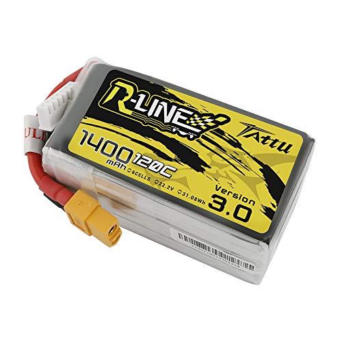 TATTU R-Line 1400mAh 22.2V 120C 6S Batería de lipo con Conector XT60 para Carreras Profesionales de FPV