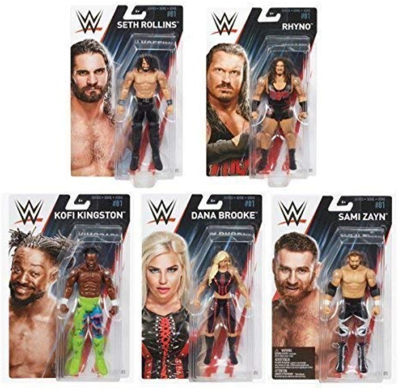 Complete Set Bundle Of All 5 Wrestling WWE Mattel Basics Series 81 Action Figures