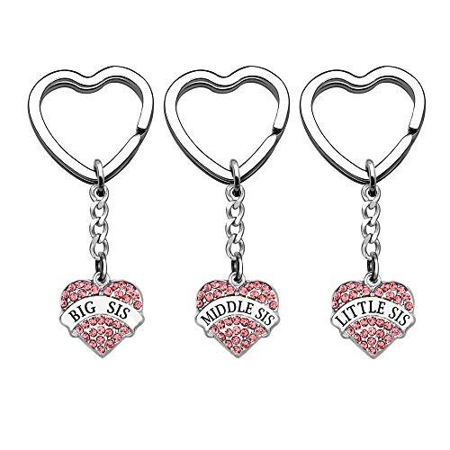 Schlüsselanhänger für Schwestern, 3 Stück, große Schwester, kleine Schwester, mittlere Schwester, Schlüsselanhänger, Ring für Frauen und Mädchen