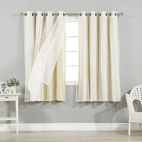Best Home Fashion uMIXm Tulle Sheer Lace and Blackout 4 Piece Curtain Set