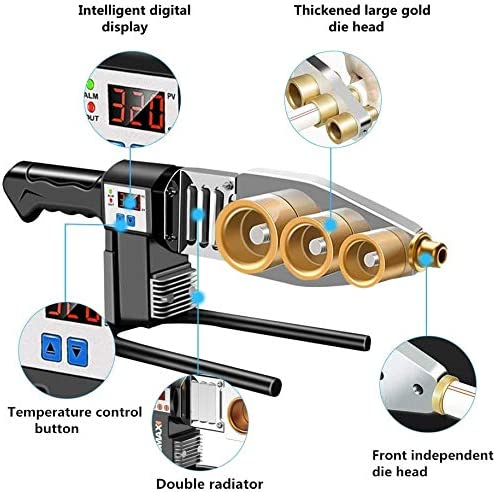 Pipes 1000W BAOSHISHAN Pipe Fusion Welder Handheld Socket Fusion Welder Digital Display Hot-melt Plastic Welding Machine for PPR 20-32mm PP PE