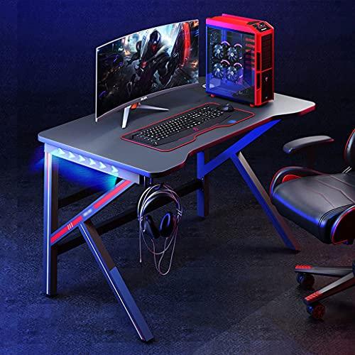 SHENXINCI Mesa Gaming Escritorio Ergonomico con LED RGB Grand Madera Mesa Escritorio, Mesa para Computador con Gancho para Auriculares y 2 Orificios para La Gestión de Cables,39,3/47,2/55,1 Pulgadas