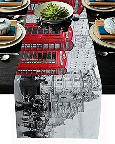 VJRQM Chemins de Table antidérapant de Table de décoration de Table Rouge Cabine téléphonique Vintage London Street pour Cuisine Table à Manger Table Basse fête de Mariage décor,13x90 Pouces