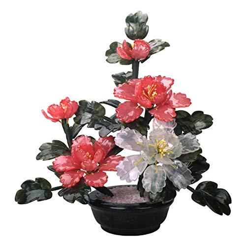 Plantas de imitación Planta de en maceta de árboles de bonsái artificial con maceta negra Plantas artificiales Fake Bonsai Árbol Planta interior para la decoración de la oficina en casa (peonía) Plant