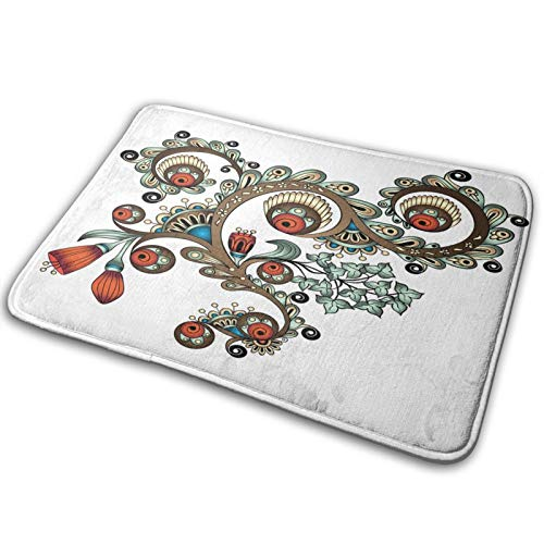CVSANALA rutschfest Sanft Badematte,Henna Doodle Floral,Mikro Personalisiert Wohnkultur Bad Fußbodenteppich,75 x 45 cm