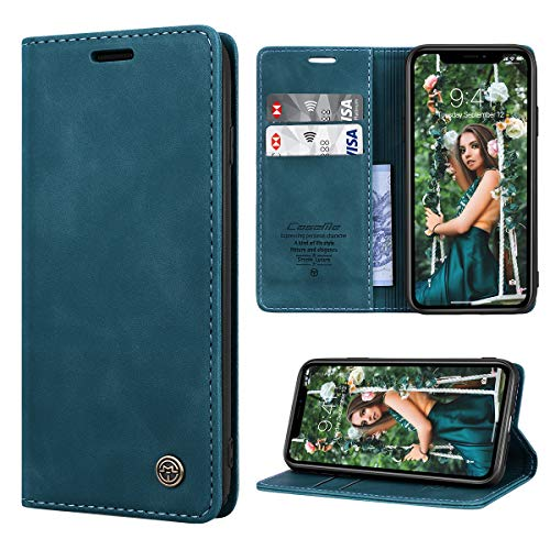 RuiPower para Funda iPhone XR con Tapa Funda iPhone XR Libro Fundas de Cuero PU Premium Magnético Tarjetero y Suporte Silicona Carcasa iPhone XR - Azul-Verde