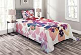 Lunarable Hawaiian Bedspread, Exotic Floral Island Theme Tropical Hawaii Flowers Pattern Print, Decorative Quilted 2 Piece Coverlet Set with Pillow Sham, Twin Size, Pink Orange