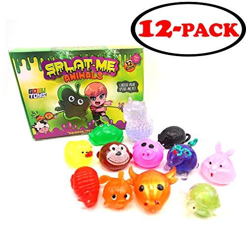 Gosu Toys Sticky Splat Balls Splat-Me Animals (12 Pack) Squishy Assortments Splat Ball Pets Stress-Reliever - Turtle Ox Fish Snail Rabbit Unicorn Pig Monkey Duck Rat Llama Frog