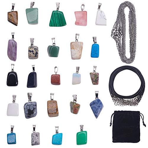 SUNNYCLUE 1 Bolsa 24 Juegos 24 Estilos Forma Irregular Sanación Gemstone Chakra Beads Crystal Stone Charms Colgantes con 12pcs Cadena de Acero Inoxidable Y 12pcs Collar de Cordón de Cuero para Joyas