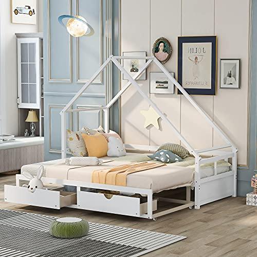 TEQIN Cama extensible con dos cajones, casa de madera con cajones, cama de madera gris y blanco con plataforma para cama de matrimonio, cama doble con plataforma con cabecero
