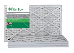 16x20x1 MERV 8 Pleated Air Filter for AC HVAC or Furnace (Pack of 4 Filters). AFB Silver MERV 8, comparable with MPR 300 / 600 (clean living and dust & pollen). MADE IN THE USA: Manufactured by FilterBuy in the USA using 100% American made components...