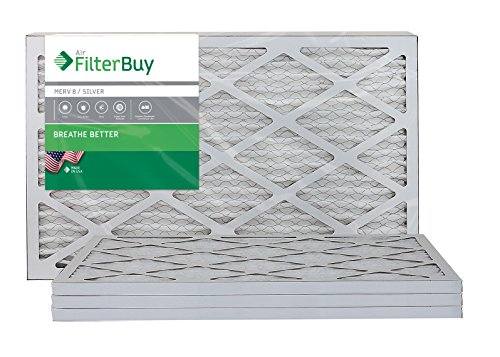 FilterBuy 16x25x1 Air Filter MERV 8, Pleated HVAC AC Furnace Filters (4-Pack, Silver)