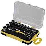 Hama Mini Socket Set 25-Piece 1/4-Inch (Tool Set for Bike, Motorbike, Model Making, Fishing Spinning Reels, Ratchet Bits; adaptor, Extension and Store Container, 1/4 Inch Black/Yellow