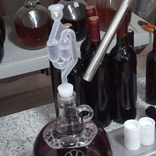 Kit de válvula de escape de fermentación de vino con tapón de válvula de escape transparente en forma de S para elaborar cerveza, vino, 10 unidades