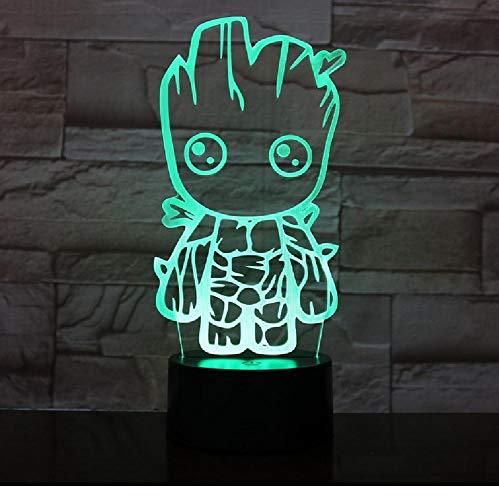 Atmósfera 3D Lámpara Marvel Movie Guardianes De La Galaxia Groot Mejor Regalo Para Adolescente Lámpara De Luz Nocturna Led