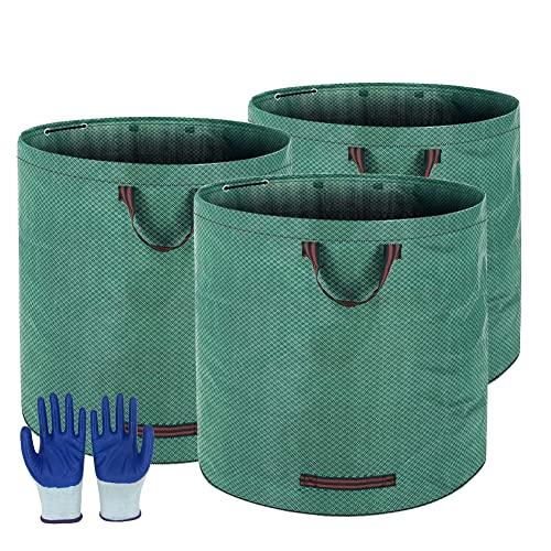 3Stück Gartenabfallsack Zusammenklappbarer 272L , Selbststehender Laubsack mit Griffen, hergestellt aus Strapazierfähigem Polypropylen-Gewebe