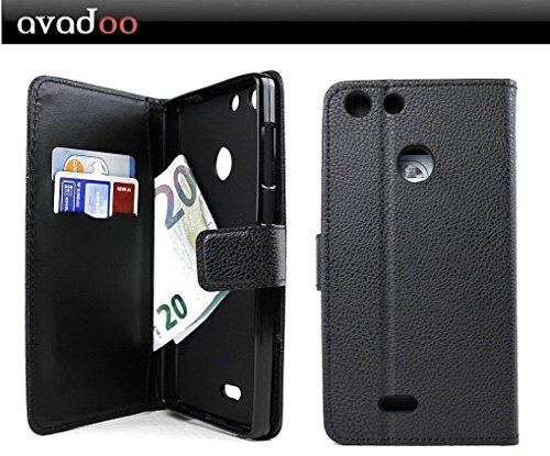 avadoo® Archos 55 Diamond Selfie Flip Hülle Cover Tasche Schwarz mit Magnetverschluss & Dualnaht als Cover Tasche Hülle