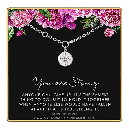 You are Strong • Warrior Bracelet • Survivor Gift • Sterling Silver Diamond Starburst Charm Bracelet • Strength • Encouragement • Cancer • Recovery • Depression • Abuse • Inspirational Gift for Women