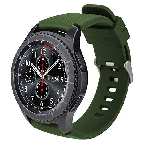 iBazal 22mm Correa Silicona Pulseras Bandas Compatible con Samsung Galaxy Watch 46mm,Gear S3 Frontier Classic,Huawei GT/2 Classic/Honor Magic,Ticwatch Pro Hombre Mujer Band (Reloj No Incluido) - Verde