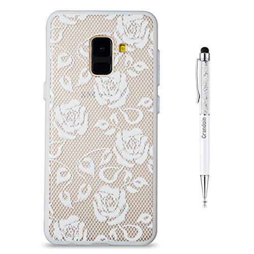 Preisvergleich Produktbild Grandoin Galaxy A8 2018 Hülle,  2 in 1 Ultra Dünne Schale Ultra Dünn Weich TPU Bumper Case Silikon Schutzhülle Handy Tasche für Samsung Galaxy A8 2018 (weiße Rose)