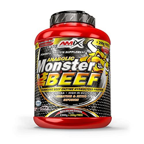 Amix - Monster Beef Protein - Suplemento Alimenticio - Mejora del Rendimiento - Proteína de Suero - Glutamina en Polvo - Nutrición - Proteína de Ternera - Sabor Chocolate - Bote de 2 Kg