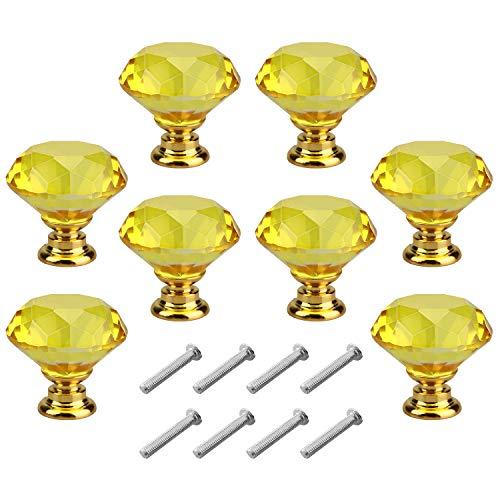 8pcs 30mm Tiradores para Cajones Cristal,pomos y tiradores vintage,perilla de puerta Forma de Diamante cajón Pomos Con tornillos tiradores cocina (B)