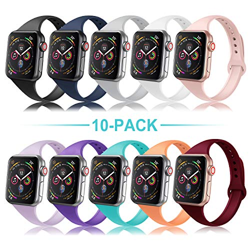 DYKEISS Sport Slim Silicone Band Compatible with Apple Watch 38mm 42mm 40mm 44mm, Thin Soft Narrow Replacement Strap Wristband Accessory for iWatch Series 1/2/3/4 (10-Pack, 38mm/40mm)