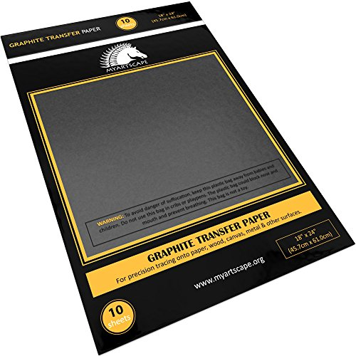 """Graphite Transfer Paper, 18"""" x 24"""" - 10 Sheets - Black Waxed Carbon Paper - for Drawing, Tracing and Transfer - Premium Arts and Crafts Supplies by MyArtscape"""