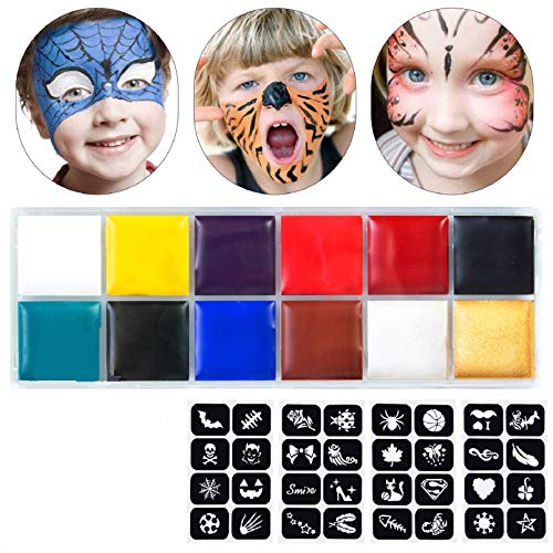 Halloween Face Paint, Halloween Cosplay Makeup Safe Kids Face Painting, Non-Toxic & Hypoallergenic Halloween Makeup, Ideal for Halloween Party, 12 Colors Washable Paints with 10 Brushes, 32 Stencils