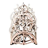 ROBOTIME 3D Assembly Puzzles Wooden Mechanical Gears Decor Laser-Cut Pendulum Clock Model Kit Best Engineering Toys for Teens