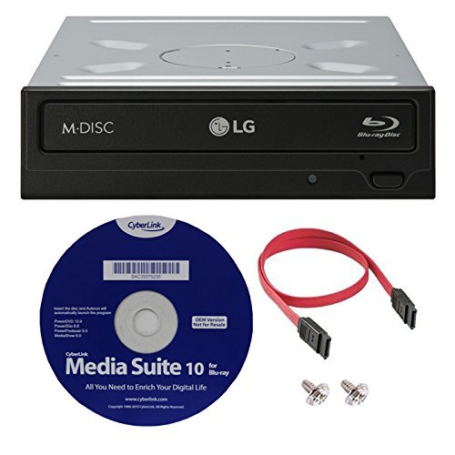 LG WH16NS40K 16X Blu-ray BDXL M-DISC DVD CD interner Brenner Laufwerk Bundle Verbatim M-Disc BD-R + Cyberlink Media Suite 10 + SATA-Kabel LG WH16NS40K