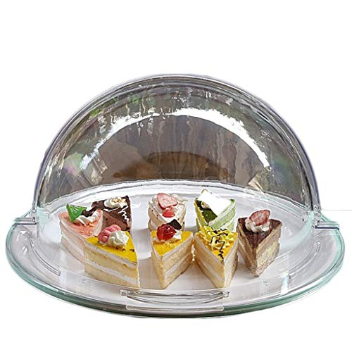 CSQ Plates Ronde Taartdoos, Semi-Open Plastic Dome Gebak Pizza Dome Cafe Hotel Tray Bruiloft Display Stand Chip & Dip Server 36 * 36 * 17CM Lichtgewicht 36 * 36 * 17cm