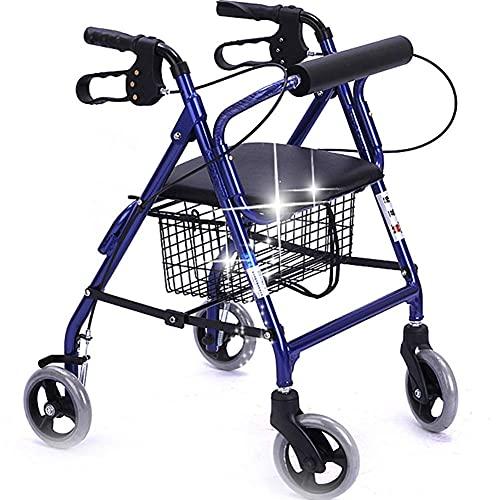 DFJU Andador Vertical dobrável, carrinho para idosos, pode ser empurrado e Sentado, carrinho de Compras, dobrável, doméstico, com rodas e assentos leves ⭐