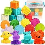 20 STK. Weiche Quetsch Babyspielzeug Set mit Bälle, Bausteine und Tierformen - Montessori...