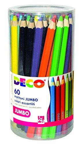 DECO 09818 potloden Maxi 60 stuks, verschillende kleuren