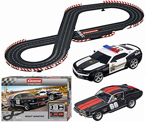 Carrera Evolution Most Wanted Slot Car Race Set 1:24 Scale Analog Track System - Includes Two 1:32 Scale Cars: Chevrolet Camaro Sheriff and Ford Mustang GT No. 66 - 2 Dual-Speed Controllers Ages 8+