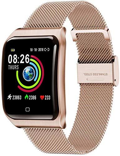 JSL Reloj inteligente con Bluetooth, monitor de frecuencia cardíaca, presión arterial, sueño, podómetro, información, impermeable, para mujeres, hombres, niños, color plateado y dorado