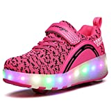 VMATE LED Light Up Roller Skate Shoes Blink Double Wheel Fashion Sports Flashing Sneaker Boys Girls Kid